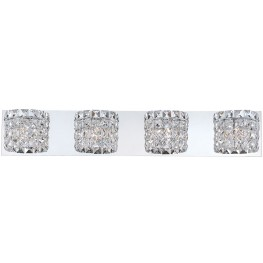 Rondell Chrome And Clear Crystal Glass 4 Light Vanity