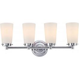 Madison 4 Chrome And White Opal Glass Light Vanity