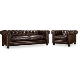 Chester Dark Brown Leather Living Room Set