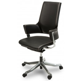 Queue Mid Swivel Black Chair