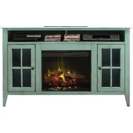 """Calistoga 60"""" Blue Fireplace Console"""