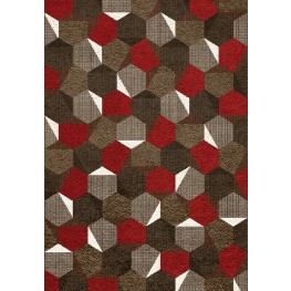 Camino Brown/Red Honeycomb Medium Rug
