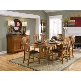 "Cattail Bungalow 96"" Warm Amber Extendable Trestle Dining Room Set"
