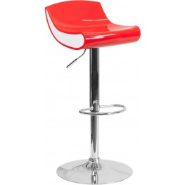 Contemporary Red and White Adjustable Height Plastic Bar Stool