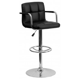 Black Quilted Adjustable Height Arm Bar Stool (Min Order Qty Required)