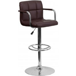 Brown Quilted Adjustable Height Arm Bar Stool (Min Order Qty Required)