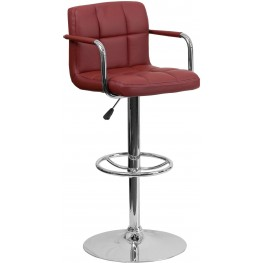 Burgundy Quilted Adjustable Height Bar Arm Stool (Min Order Qty Required)