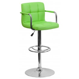 Green Quilted Adjustable Height Arm Bar Stool (Min Order Qty Required)