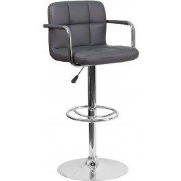 Contemporary Gray Quilted Vinyl Adjustable Height Bar Stool