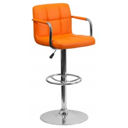 Orange Quilted Adjustable Height Arm Bar Stool (Min Order Qty Required)