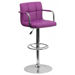 Purple Quilted Adjustable Height Arm Bar Stool (Min Order Qty Required)