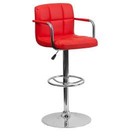 Red Quilted Adjustable Height Arm Bar Stool (Min Order Qty Required)