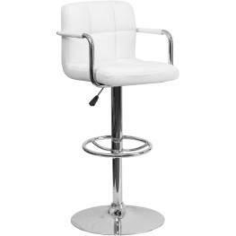 White Quilted Adjustable Height Arm Bar Stool (Min Order Qty Required)