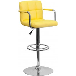 Yellow Vinyl Adjustable Height Arm Bar Stool (Min Order Qty Required)