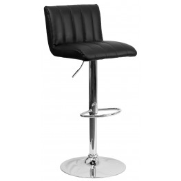 Black Vinyl Adjustable Height Bar Stool (Min Order Qty Required)
