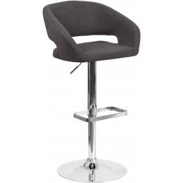 Black Fabric Upholstery Adjustable Height Bar Stool