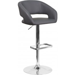 Rounded Gray Vinyl Adjustable Height Bar Stool