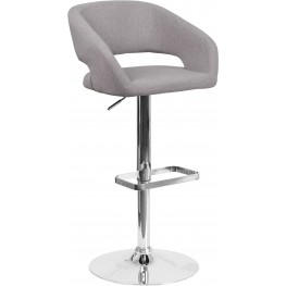 Rounded Gray Fabric Adjustable Height Bar Stool