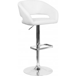 Rounded White Vinyl Adjustable Height Bar Stool (Min Order Qty Required)