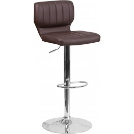 Low Back Brown Vinyl Adjustable Height Bar Stool (Min Order Qty Required)