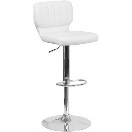 Low Back White Vinyl Adjustable Height Bar Stool (Min Order Qty Required)