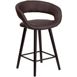 Brynn Series 24Inch High Contemporary Brown Vinyl Counter Chair