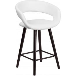 Brynn Series 24Inch High Contemporary White Vinyl Counter Chair