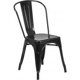 Black Indoor-Outdoor Stackable Chair