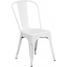 White Indoor-Outdoor Stackable Chair