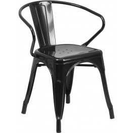 Black Indoor-Outdoor Arm Chair (Min Order Qty Required)