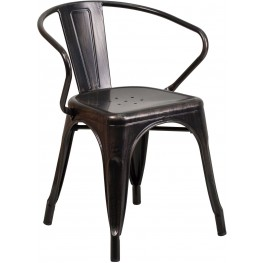 Black-Antique Gold Indoor-Outdoor Arm Chair (Min Order Qty Required)