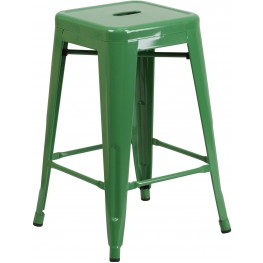 24Inch High Backless Green Indoor-Outdoor Counter Chair (Min Order Qty Required)