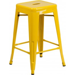 24Inch High Backless Yellow Indoor-Outdoor Counter Chair