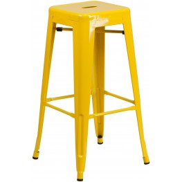30Inch High Backless Yellow Indoor-Outdoor Bar Stool