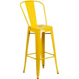 Curved Back 30Inch High Yellow Indoor-Outdoor Bar Stool (Min Order Qty Required)