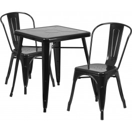 23.75Inch Square Black Indoor-Outdoor Table Set with 2 Stack Chairs