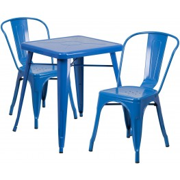 23.75Inch Square Blue Indoor-Outdoor Table Set with 2 Stack Chairs