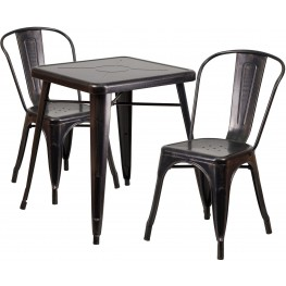 23.75Inch Square Black-Antique Gold Indoor-Outdoor Table Set with 2 Stack Chairs