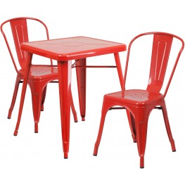 23.75Inch Square Red Indoor-Outdoor Table Set With 2 Stack Chairs (Min Order Qty Required)