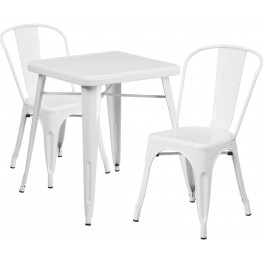 23.75Inch Square White Indoor-Outdoor Table Set With 2 Stack Chairs (Min Order Qty Required)
