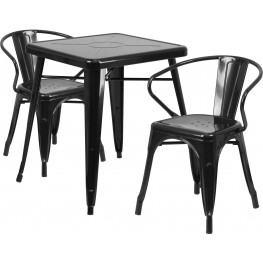 23.75Inch Square Black Indoor-Outdoor Table Set With 2 Arm Chairs (Min Order Qty Required)