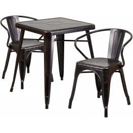 23.75Inch Square Black-Antique Gold Indoor-Outdoor Table Set With 2 Arm Chairs (Min Order Qty Required)