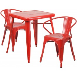 23.75Inch Square Red Indoor-Outdoor Table Set With 2 Arm Chairs (Min Order Qty Required)