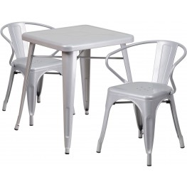 23.75Inch Square Silver Indoor-Outdoor Table Set with 2 Arm Chairs