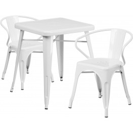 23.75Inch Square White Indoor-Outdoor Table Set With 2 Arm Chairs (Min Order Qty Required)