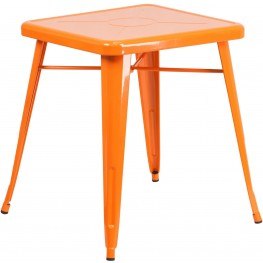23.75Inch Square Orange Indoor-Outdoor Table
