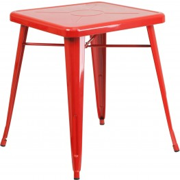 23.75Inch Square Red Indoor-Outdoor Table