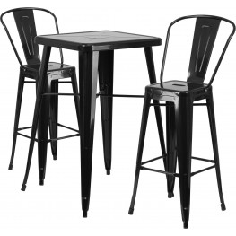 23.75Inch Cafe Bar Indoor-Outdoor Bar Table Set with 2 Bar Stools
