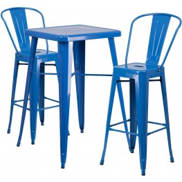 23.75Inch Square Blue Indoor-Outdoor Bar Table Set With 2 Bar Stools (Min Order Qty Required)