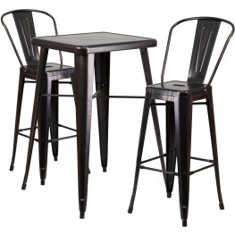 23.75Inch Gold Black-Antique Indoor-Outdoor Bar Table Set with 2 Bar Stools